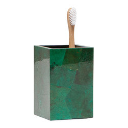 "Pigeon & Poodle - Pigeon & Poodle Palm Beach Jade Toothbrush Holder - Pigeon & Poodle's Palm Beach toothbrush holder pairs coastal style and Art Deco-inspired flair. Crafted from emerald shell pieces, this accessory dazzles with visual intrigue. 3""D x 3""D x 4.5""H; Waterproof interior; Due to handmade quality, natural variations may occur"