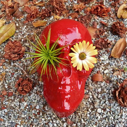 """Day of the Dead decor - I make these table top skull planters  by hand, each one finished in enamel paint.  I am happy to make these in any color you want!  Best for air plants....also suitable for small succulents.  9""""x6"""""""