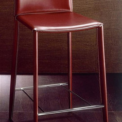 Bontempi Casa - Designer Counter Stool Upholstered in Leather (White w White Stitching) - Color: White w White Stitching. Linda European style contemporary counter stool is the right style for any modern room setting.  Luxurious leather-wrapped stool features a sturdy metal frame and padded contoured seat and back for added comfort.  Please select your choice of colors from available options. Pictured in dark brown leather with off-white stitching. Designed by Daniele Molteni. Counter stool with fully upholstered seat. Lightly padded seat with polyurethane. Steel painted metal frame wrapped in hand-sewn smooth-as-silk hide leather. Facilitates stain resistance. Made from steel painted frame and hide leather. Made in Italy. 17.32 in. L x 18.89 in. W x 34.20 in. H. Seat Height: 26 in.