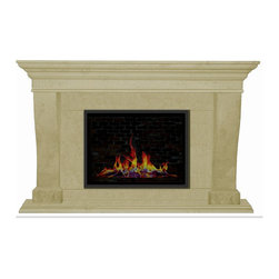 Henri Cast Stone Fireplace Mantel - Henri Cast Stone Mantel. This statement of English Tudor. With clean fresh lines adorning your fireplace with style. Mantel comes with hearthstones and fillers, Shown in Desert with medium pit texture. For more colors and textures visit website.