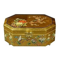 Oriental Unlimted - Violetta Jewelry Box Overlaid w Birds & Flowe - Perfect for a unique gift or as a special treat for yourself. Hand-painted with a delicate Birds and Flowers design. Handcrafted by artisans in the Guangdong province of mainland China. With exquisite hand carved Mother of Pearl design. Employs classic Chinese finishing techniques. The compartment is lined with fine red felt with a removable felt ring tray. Brass hardware is clear lacquered to resist tarnish. Hand finished in a rich and clear lacquer. Overlaid with striking 24-carat gold leaf. 12 in. W x 8 in. D x 4.5 in. H