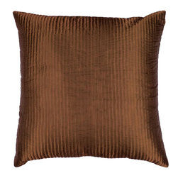 "Surya - Surya PC-1002 Shapely Stripe Pillow, 22"" x 22"", Down Feather Filler - Create a look of contemporary charm with this elegant pillow. Featuring a subtly chic design and striking deep brown coloring, this piece will pair perfectly with a range of styles, securing itself as the crowning jewel of any space. This pillow contains a zipper closure and provides a reliable and affordable solution to updating your home's decor."