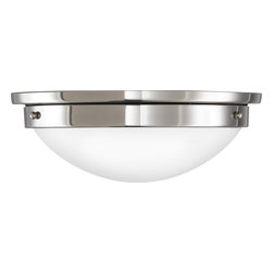 Murray Feiss - Murray Feiss Botanical Transitional Flush Mount Ceiling Light X-NP822MF - The sleek curvature of this Murray Feiss flush mount ceiling light is complimented by updated finishes, such as the Polished Nickel hue around the base. From the Botanical Collection, this modern flush ceiling light also features a coordinating curvilinear excavation glass shade that pulls this updated design together.