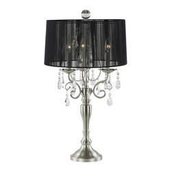 Ashford Classics Lighting - Crystal Chandelier Table Lamp with Drum Shade - 2239-09 - Crystal table lamp in satin nickel finish with a black string drum lamp shade with a touch sensor that turns the lights on 1, 2, or all 3 at a time. With a classical design this touch table lamp is a modern take on the traditional classic crystal look. Takes (3) 40-watt incandescent flame bulb(s). Bulb(s) sold separately. UL listed. Dry location rated.
