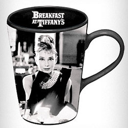 Breakfast at Tiffany's Mug - Did you know that it's the 50th birthday of the movie Breakfast at Tiffany's? Audrey Hepburn as Holly Golightly is even more popular today then she was 50 years ago. Grab this mug to celebrate.
