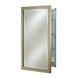 Afina Basix Surface Mount Medicine Cabinet - 16W x 4.5D x 22H in. - Add some polish and panache to your bath with the Afina Basix Surface Mount Medicine Cabinet - 16W x 4.5D x 22H in. This surface mount cabinet's interior is constructed of durable rust-proof anodized aluminum and touts a single door and two adjustable shelves for your storage convenience. With no visible hinges and your choice of fetching mirror finishes there is sure to be a style to complement your decor. Cabinet measures 16W x 4.5D x 22H inches. About Afina Afina Corporation is a manufacturer and importer of fine bath cabinetry lighting fixtures and decorative wall mirrors. Afina products are available in an extensive palette of colors and decorative styles to reflect the trends of a new millennium. Based in Paterson N.J. Afina is committed to providing fine products that will be an integral part of your unique bath environment.