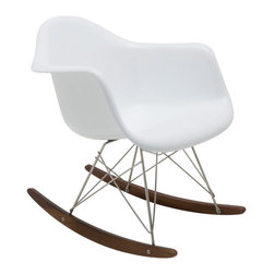 Nuevo Living - Nuevo Baha Rocking Chair In White Fiberglass - Baha Rocking Chair features a durable and fiberglass shell with a deep seat pocket, graceful armrests, high backrest and waterfall seat edge for lounge-quality comfort. This iconic chair is ideal for any children's room, front porch, offices, living rooms and bedrooms. Baha rocker's clean, simple form was sculpted to fit the body.