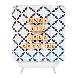 DENY Designs - DENY Designs Happee Monkee Baby Its Cold Outside Shower Curtain - Who says bathrooms can't be fun? To get the most bang for your buck, start with an artistic, inventive shower curtain. We've got endless options that will really make your bathroom pop. Heck, your guests may start spending a little extra time in there because of it!