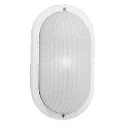 Progress Lighting - Progress Lighting Polycarbonate Wall / Ceiling Surface Mount X-03-4075P - This clean design can be mounted either on the wall or ceiling, adding to the appeal of this Progress Lighting outdoor wall sconce. From the Polycarbonate Collection, it features a white ribbed polycarbonate shade paired with a crisp, clean White finish. UL listed for wet locations. UV stabilized.
