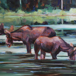 Bullwinkle & Friend (Original) by Billie Colson - Moose in the river getting a much needed drink of water.