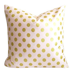 Gold Polka Dot Pillow Cover - Metallic Gold foil with Blush Pink, 16 Inches - Throw pillow cover, fits one 16 inch square pillow insert.