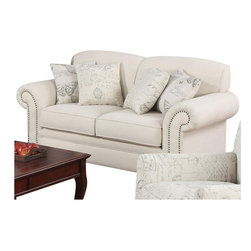 Coaster - Coaster Norah Loveseat with Antique Inspired Detail in Oatmeal - Coaster - Loveseats - 502512 - Create a distinctive look in your living room with this elegant French laundry inspired loveseat. The light linen upholstery look tailored with tight scalloped back cushions and rolled arms. Classic nail head trim adds a touch of shine. Four accent pillows are included with butterfly and French script printed fabric for bringing together modern and antique styles.