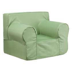 Flash Furniture - Flash Furniture Oversized Solid Green Kids Chair - DG-LGE-CH-KID-SOLID-GRN-GG - This comfy foam chair is a fun piece of furniture for children to enjoy for reading and relaxing. The Lightweight design with Carrying handle will allow this chair to be toted in several locations. The slipcover can be removed for cleaning or spot cleaned upon accidents. [DG-LGE-CH-KID-SOLID-GRN-GG]