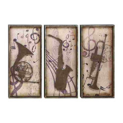 UMA - Jazz man's Horns Music Wall Plaques - Carved of wood, these plaques feature horns, music notes and clefs in a classic arrangement