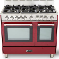 "Verona 36"" Double Oven Gas Range Burgundy"
