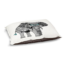 """DiaNoche Designs - Dog Pet Bed Fleece - One Tribal Elephant - DiaNoche Designs works with artists from around the world to bring unique, designer products to decorate all aspects of your home.  Our artistic Pet Beds will be the talk of every guest to visit your home!  BARK! BARK! BARK!  MEOW...  Meow...  Reallly means, """"Hey everybody!  Look at my cool bed!""""  Our Pet Beds are topped with a snuggly fuzzy coral fleece and a durable underside material.  Machine Wash upon arrival for maximum softness.  MADE IN THE USA."""