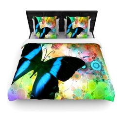 """Kess InHouse - alyZen Moonshadow """"Colorful Blue"""" Multicolor Butterfly Cotton Duvet Cover (Queen - Rest in comfort among this artistically inclined cotton blend duvet cover. This duvet cover is as light as a feather! You will be sure to be the envy of all of your guests with this aesthetically pleasing duvet. We highly recommend washing this as many times as you like as this material will not fade or lose comfort. Cotton blended, this duvet cover is not only beautiful and artistic but can be used year round with a duvet insert! Add our cotton shams to make your bed complete and looking stylish and artistic!"""