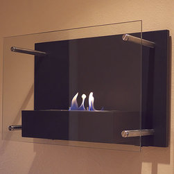 Bluworld Nu-Flame - Radia Wall-Mounted Ethanol-Burning Fireplace - Radia is unlike any fireplace you have ever seen. This sophisticated wall mounted fireplace features a chic, classic black frame and tempered glass face supported by stainless steel standoffs. The large 1.5 liter burner provides a long burn time, enhancing any setting for extended enjoyment. Easily adjust the flame height or extinguish it completely with the provided dampener tool. Fuel not included, we recommend using Nu-Flame Bio-Ethanol Fuel. For indoor use only.