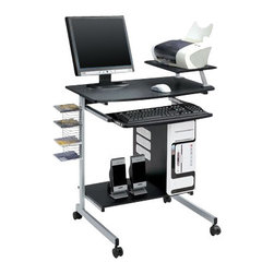 Techni Mobili - Techni Mobili Odile Wood Top Computer Work Station in Graphite - Techni Mobili - Computer Desks - RTA2018GPH06. The Techni Mobili Odile Computer work Station changes to suit your needs. The attachable shelf can be put on the back of the desk as a monitor stand or on either side for the printer or scanner giving it great flexibility.