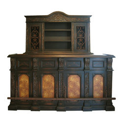 Bar Cologne, Straight Bar and Back Serving Armoire - Bar Cologne, Straight Bar and Back Serving Armoire