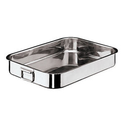Paderno World Cuisine - Stainless-steel Heavy Roasting Pan with Folding Handles - The shallow sides of the roasting pan allow the meat to be exposed as much as possible to the dry heat of the oven. This roasting pan is made of heavy stainless steel without a multi-layered sandwich bottom. It has dual, folding handles.