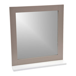 Bathroom Wall Mirror with Shelf So Romantic Brown Glaze - This bathroom wall mirror So Romantic has a medium-density fiberboard frame (MDF). It features a painted brown glaze-finish shelf, ideal for toiletries and decorative bath items. Handy and handsome, it will be a welcomed addition to your bathroom decor! Easily fixed to the wall or tile wall, the mounting hardware is included and has a surface mount that cannot be recessed into the wall. Length 18.9-Inch, height 21-Inch and depth of the shelf 3.9-Inch. Color grey. This lovely wall mirror will make a wonderful finishing touch to any bathroom or any living room. Complete your So Romantic decoration with other products of the same collection. Imported.