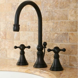 None - Governor Widespread Oil Rubbed Bronze Bathroom Faucet - Dark and dramatic, this Governor oil-rubbed bronze bathroom faucet is an easy way to add old-world style to your home. Crafted with double handles for convenience, the faucet comes with all necessary mounting hardware, so you can install it immediately.