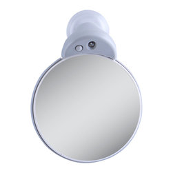 Zadro - Zadro Led Lighted 10X/5X Spot Mirror In Light Grey-Fc30L - The 10X/5X LED Lighted Spot Mirror mounts to any mirror or flat, smooth surface. Its versatile design makes it the ideal spot mirror for any situation. This is mirror is perfect for applying make-up or inserting contacts.