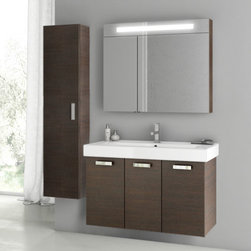 ACF - 40 Inch Wenge Bathroom Vanity Set - Begin your bathroom re-design with this Italian made vanity set by designer ACF. It is a 37 inch vanity that includes a three door vanity cabinet, bathroom sink, lighted medicine cabinet and tall storage cabinet. It is a wall mounted set with a contemporary design and comes in a wenge finish. Set Includes:. Vanity Cabinet (3 Doors). High-end fitted ceramic sink. Wall mounted medicine cabinet. Tall storage cabinet. Vanity Set Features . Vanity cabinet made of engineered wood. Cabinet features waterproof panels. Vanity cabinet in wenge finish. Vanity cabinet features three easy-to-open doors. Chrome door handles elegantly complete vanity surface. Faucet not included. Perfect for modern bathrooms. Made and designed in Italy. Includes manufacturer 5 year warranty.
