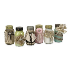 IMAX Worldwide Home - Mason's Jars - Set of 6 - Set of 6. Material: 80% Glass, 10% Iron, 5% Lace, 2% Cotton, 1% Paper. 7 in. H x 4 in. W x 3.5 in. . Weight: 6.9125 lbs.Adding a vintage touch to any room, this set of six revamped jars have painted interiors and are wrapped in lace, tulle, ribbon, burlap and embellished with a mix of Shabby Chic elements.