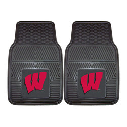 Fanmats - Fanmats Wisconsin 2-piece Vinyl Car Mats - Use these black vinyl car mats to protect the flooring in your RV, truck, SUV, or car. These mats are made out of durable, treaded vinyl with the Wisconsin logo. They can be removed and cleaned with a garden hose and some mild soap.