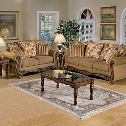 Traditional Brown Floral Fabric Sofa Couch Loveseat Living Room Set - The Olysseus Brown Floral Sofa Collection adds a hint of elegance to any room. The Sturdy, large turned legs and detailed carved wood give a feeling of comfort. The transitional fabric, beautiful floral/striped fringed pillows, and rolled arms only serve to further the feeling of comfort. Serta Collection, made in the USA.