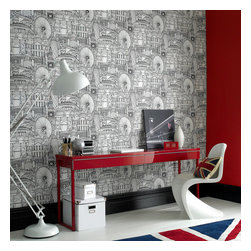 Graham & Brown - Londinium Wallpaper - Bring the eternal city into your home with this new graphic wallpaper design. capturing the excitement of the 2012 London Olympics. Graham & Brown launches this illustrative cityscape, featuring London's best known buildings and attractions.