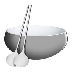 WMF - Nuro 3 pc. Salad Set, Gray - Nuro combines round-bodied with graceful linear design elements. the 2-Piece salad server Set is a perfect complement to the bowl.