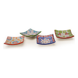 "Signature Housewares/Gypsy - Gypsy Set of Four Square Dishes - Four fun and eclectic square dishes.  Each is lead free, dishwasher and microwave safe.  Each is 3.25"" square."