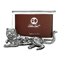 Arthur Court - Tiger PF 4 x 6 - Frame your favorite shot with sculptural details, when you use this aluminum tiger to highlight your favorite memory. This sleek big cat frame will fit a four by six photo.
