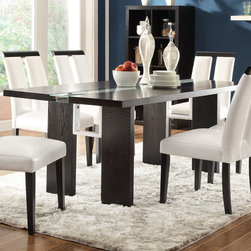 Coaster - Kenneth Dining Table, Black - Bring a simple, contemporary styling into your dining and entertaining space with the Kenneth dining set. Crafted with a rich black finish, the table is rectangular in shape and features a press switch to turn on an LED light that runs directly through the middle of the table. Accompanied are six dining chairs. Each chair is upholstered in crisp cream vinyl upholstery for a classy and refined look and feel. Exposed black top lining and square shaker legs add additional detail to visually please. The Kenneth dining Set makes an impressive addition to any home. The 3 way switch and light is battery operated.