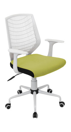 "Lumisource - Network Office Chair, White/Green - 22"" L x 25"" W x 36.6 - 39.5"" H"