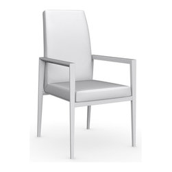 Calligaris - Bess Leather Arm Chair, Matt Optic White Frame, Optic White, Set of 2 - Seat Frame Supported By Elastic Belts