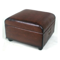 International Caravan - Ottoman Trunk in Brown Faux Leather Upholster - In Brown. Made of faux leather. Opens up for further storage. 21.5 in. L x 23.5 in. W x 16 in. H