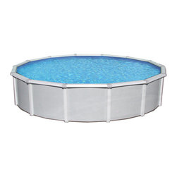 "Blue Wave - Blue Wave Samoan Round 52 Inch Above Ground Pool - 24 ft - Samoan steel above-ground pool our heavy duty 8"" toprail pool combines top quality with an attractive exterior. Our quality Samoan steel pool will keep your family splashing for many years. Built by one of the world's leading pool manufacturers this pool's quality and beauty are unsurpassed. From its extra wide 8"" top rails to its heavy duty fully supporting 6"" uprights, the Samoan delivers superior quality and craftsmanship. Top-of-the- line construction _ Samoan pools are made with the thickest steel of any pool in this class. This extra heavy gauge steel means less bending and warping than pools built with regular weight steel. In addition to its superior strength, it is able to withstand the rigors of freezing winters and heavy snows. Extra wide 8"" top rails and 6 "" fully supportive uprights provide a rugged structure that will withstand years of active family fun. The attractive sidewall pattern combined with the decorator resin seat caps give our Samoan a deluxe upscale look. Corrosion-proof protective coatings - our Samoan pool has many layers of protectoral (On the top rails and verticals) and protectoloc (On the walls) to protect your pool from rust and corrosion. From blazing sunlight to driving rain and snow, your pool will look virtually brand new for many years to come. Easy installation - Samoan pools are designed to assemble quickly and easily by do-it-yourselfers. Installation instructions are included with each pool. Invest in our heavy duty Samoan pool this spring and get in on the family fun. Our pools come standard with a wide mouth skimmer and return fitting. They are backed by a 30-year limited warranty. Available with a 52"" wall in a variety of round and oval sizes to fit your backyard."