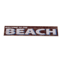"""Handcrafted Model Ships - Wooden Red Welcome To The Beach Sign 29"""" - Wood Beach Sign - Our Wooden Rustic Red Welcome To The Beach Sign 29"""" is the perfect choice to display your affinity for decorating a beach house. Place this sign in a beach kitchen, use as a coastal decorating idea, or hang this up as part of your beach bedroom decor. Given all the options, one thing is for certain, you are sure to inject the beach lifestyle into your humble abode."""