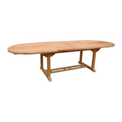 "Anderson Teak - Bahama Extra Thick Oval Double Extension Table - Unfinished - Entertaining unexpected visitors will be just fine with your Oval Teak Extension Dining Table - 87 In., a piece always ready for those welcomed surprises.  Demonstrative of meticulous, yet rustic craftsmanship, style, and design, this piece will brighten your special space now and in years to come.  The 117"" Teak Oval Extension Table with Double Extensions can handle large gatherings or unexpected guests with style and flair!  Just install the custom fitted double extensions and you're set - just make sure you have enough chairs! * Oval in shape. Seating capacity: 8 to 10. Extendable length. With or without umbrella hole. Unique built-in butterfly pop-up leaf folds away for easy storage. Teak wood construction. Minimal assembly required. 78 in. - 117 in. L x 43 in. W x 29 in. H (139 lbs.)This solid Teak ""Extension Table"" with extra thick wood makes the perfect addition to your patio or backyard. The unique built-in butterfly pop-up leaf enables you to open and close your table in 15 seconds. The thickness of the table is made for generations."