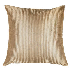 "Surya - Surya PC-1003 Shapely Stripe Pillow, 18"" x 18"", Poly Fiber Filler - Create a look of contemporary charm with this elegant pillow. Featuring a subtly chic design and striking beige coloring, this piece will pair perfectly with a range of styles, securing itself as the crowning jewel of any space. This pillow contains a zipper closure and provides a reliable and affordable solution to updating your home's decor."