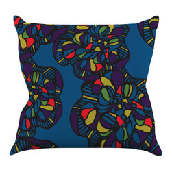 "Kess InHouse - Sonal Nathwani ""Mushroom Flower"" Navy Pattern Throw Pillow (16"" x 16"") - Rest among the art you love. Transform your hang out room into a hip gallery, that's also comfortable. With this pillow you can create an environment that reflects your unique style. It's amazing what a throw pillow can do to complete a room. (Kess InHouse is not responsible for pillow fighting that may occur as the result of creative stimulation)."