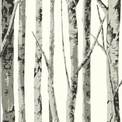 Seabrook Wallcovering - Graphic Birch Tree Wallpaper - This is specialty designer wallpaper that depicts bare, black and white birch trees in the middle of winter.  Originally inspired by the outdoors, this design is imprinted on acrylic-coated paper using modern printing techniques to give it a distinct, contemporary impression. The paper is only sourced from renewable, resource forests and it is printed using environmentally-friendly, water based inks. An extremely popular pattern that strikes a chord with conservationists, Nature enthusiasts and people who have a fondness for Mother Nature. Pattern # EH61008, Seabrook ID# SBK14258 Houzz Only Price (33% Savings): $77 for a double roll vs Normal MSRP: $113.98