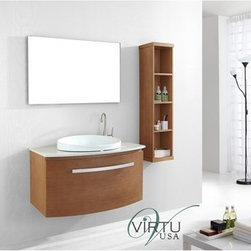 """Virtu USA - Virtu USA 40"""" Anabelle Sink Bathroom Vanity Set - Chestnut - The Anabelle features an elegant Euro-modern design with superb craftsmanship. The vanity is constructed from solid oak wood and finished with natural wood veneer. The Anabelle is equipped with designer brand BLUM soft closing slides. A large artistic basin provides a contrasting color balance. The vanity is available in Chestnut, Espresso or Walnut finishes with the option of quartzite or artificial white stone countertop. The completed set includes an aluminum framed mirror. Nothing short of perfection, the Anabelle vanity is a gorgeous centerpiece to any bathroom. FeaturesMain Cabinet: 39.4"""" W x 20.5"""" D x 21.7"""" HMirror: 39.4"""" W x 23.6"""" HChestnut, Espresso or Walnut Cabinet FinishQuartzite Stone or White Artificial Stone Countertop OptionsWater Resistant Low V.O.C SealerZero-Emissions Solid Oak and Veneer FinishAdjustable slides1 Functioning Drawer with BLUM"""" Soft Closing GlidersWall-Mounted for Adjustable HeightBrushed Nickel HardwareDesigner Ceramic Drop-In BasinFaucets Sold SeparatelyESC-504 Side Cabinet Sold SeparatelyHow to handle your counterView Spec Sheet"""