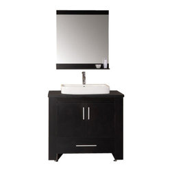 """Design Element - Washington 36"""" Single Sink Vanity Set in Espresso - The Washington 36"""" espresso vanity set is stylishly constructed of solid plywood panels with veneer laminate. The stylish white rectangular sink and sleek espresso cabinetry bring style and utility to any bathroom. This vanity includes soft-closing cabinet doors and a large pullout drawer all adorned with satin nickel hardware. The sides of the vanity feature a removable towel bar and shelving for additional storage and utility. A matching mirror with shelf is included."""
