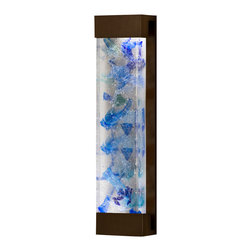 Fine Art Lamps - Crystal Bakehouse Cobalt & Aqua Crystal Sconce, 811150-12ST - Add a colorful glow to your contemporary bedroom, hallway or bathroom with this large-sized sconce. The wall-mounted fixture houses a hand-crafted polished block of cobalt and aqua crystal pieces.