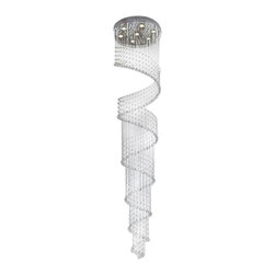 Lightupmyhome - 9-Foot Flush mount String Crystal Rainfall Chandlier - This gorgeous chandelier will make you feel like royalty, without the royal price tag.  This 9-Foot beauty will sparkle from every angle adding elegance and beauty to your home.
